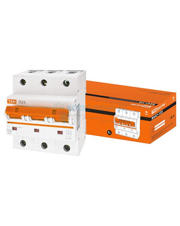 Выключатель автоматический TDM ВА47-125 3Р 80А 15кА
