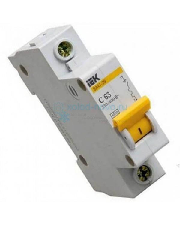 Выключатель автоматический 1-полюсный ИЭК, тип C, 63А, 3кА