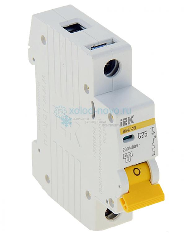 Выключатель автоматический 1-полюсный ИЭК ВА47-29, тип C, 25А, 4.5кА