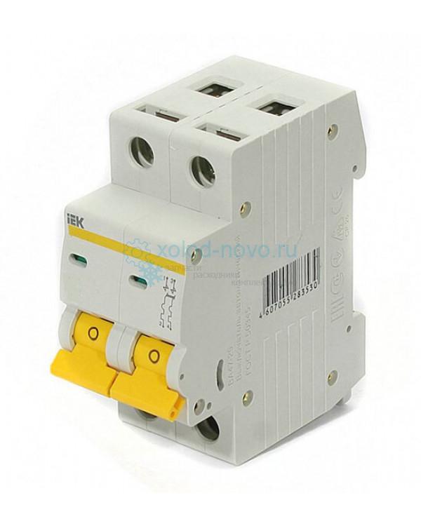 Выключатель автоматический 2-полюсный ИЭК ВА47-100, тип C, 63А, 10кА
