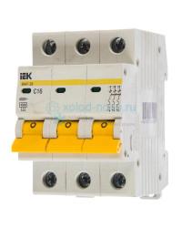 Выключатель автоматический 3-полюсный ИЭК, тип C, 16А, 4.5кА