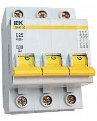 Выключатель автоматический 3-полюсный ИЭК, тип C, 25А, 4.5кА