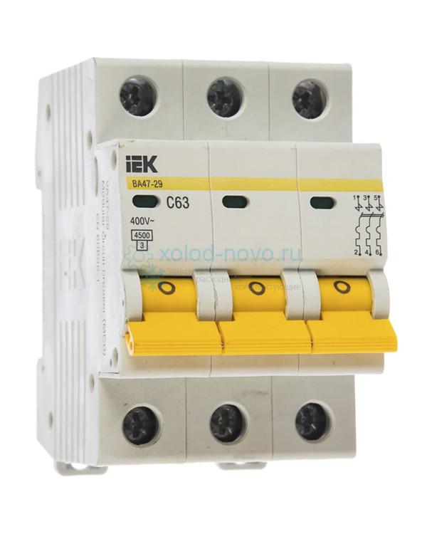 Выключатель автоматический 3-полюсный ИЭК, тип C, 63А, 4.5кА