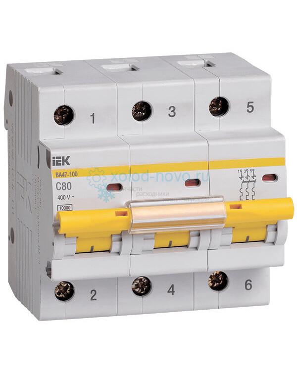 Выключатель автоматический 3-полюсный ИЭК, тип C, 80А, 10кА