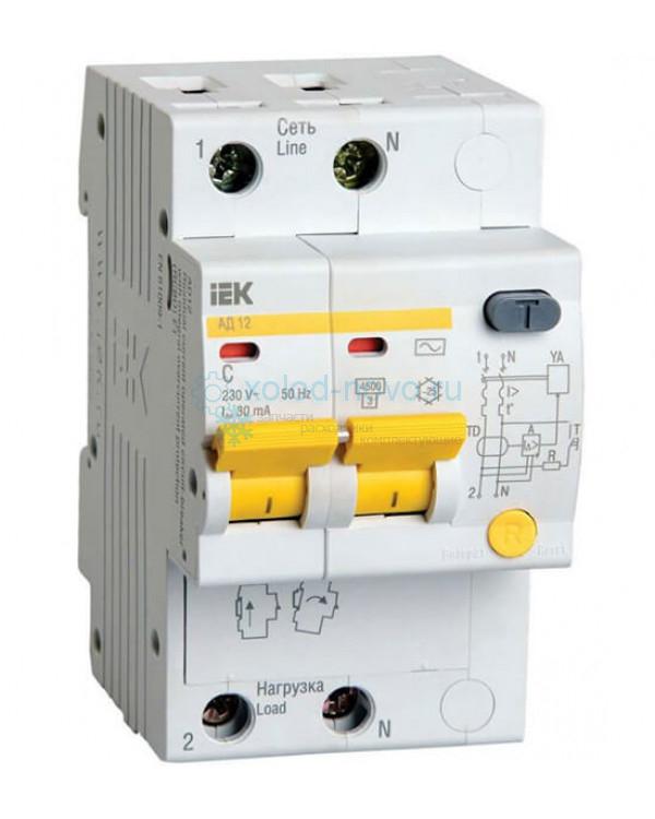 Выключатель автоматический дифференциальный IEK АД12 2P 16А 30мА