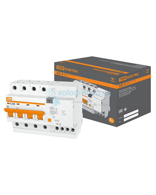 Выключатель автоматический дифференциальный TDM АД14 4P 40А 30мА