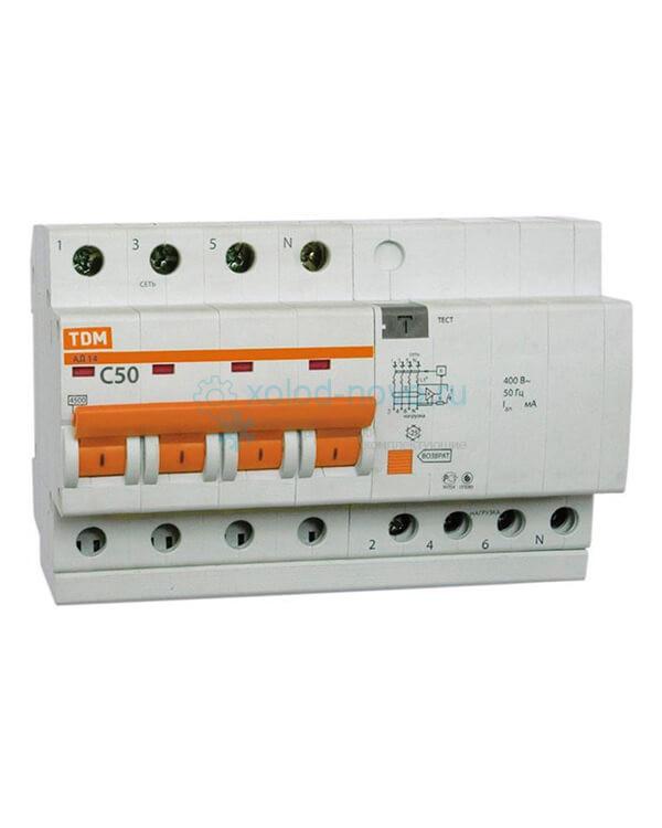 Выключатель автоматический дифференциальный TDM АД14 4P 50А 30мА